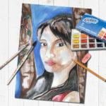 Портрет на заказ для девушки, акварельные краски на ватмане