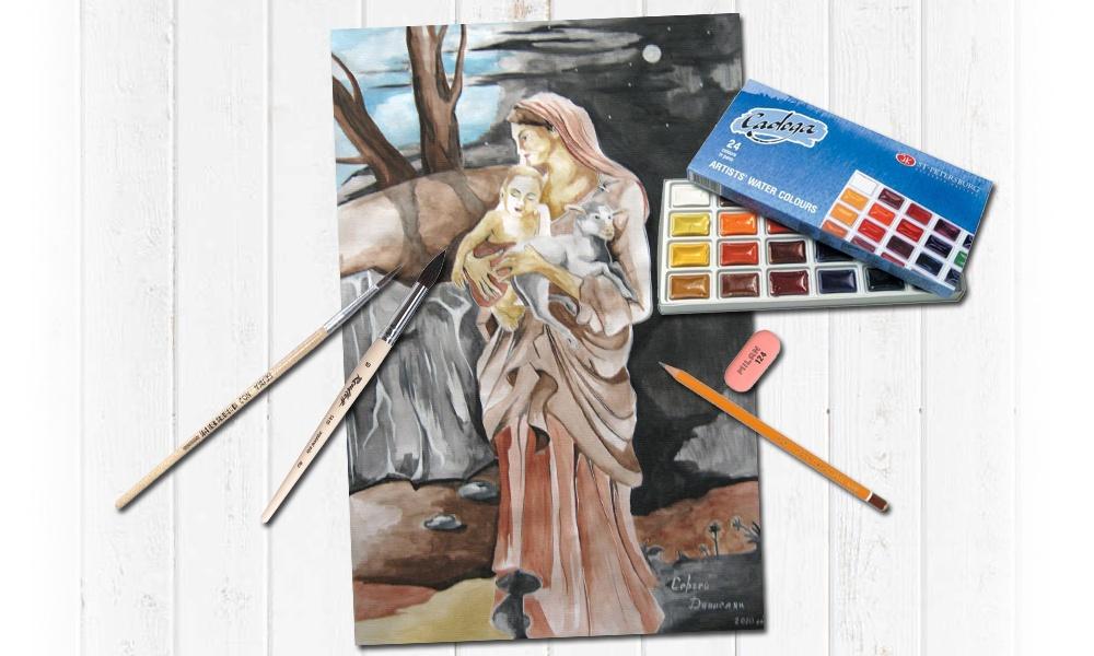 Портреты красками на ватмане по заказу