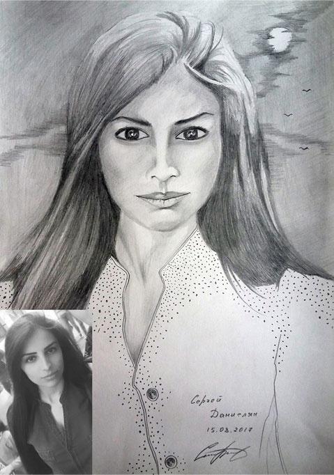 Красивый портрет карандашом