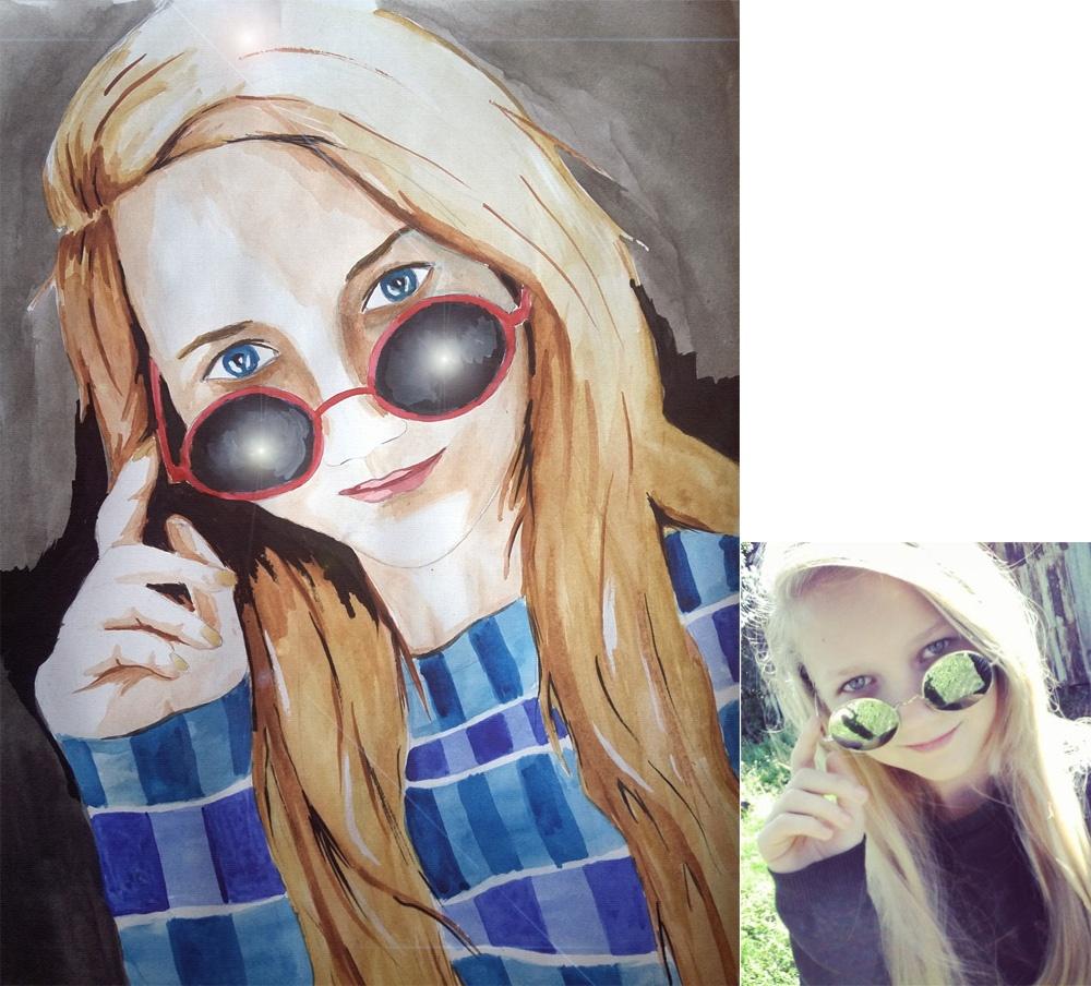 Портрет девушки акварельными красками
