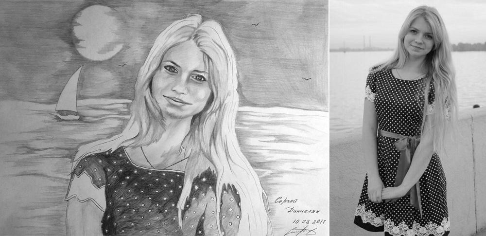 Портрет карандашом на заказ для девушки