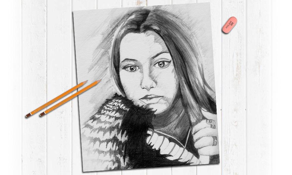 Портрет карандашом для девушки