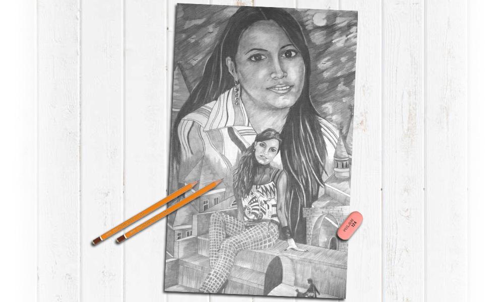 Карандаш, рисунок девушки не дорого на заказ