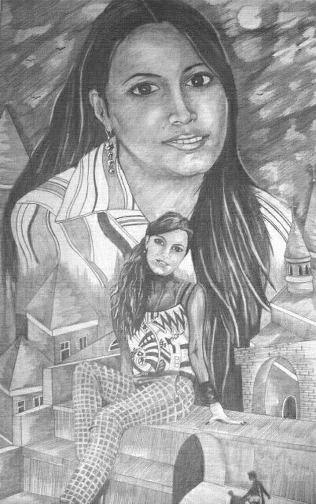 Портрет-коллаж, рисунок карандашом