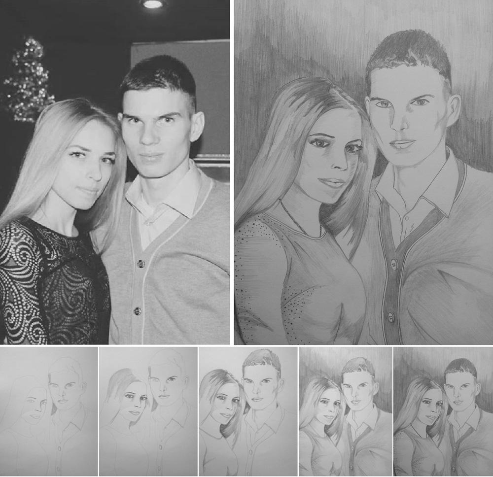 Портрет, карандаш, девушка и парень