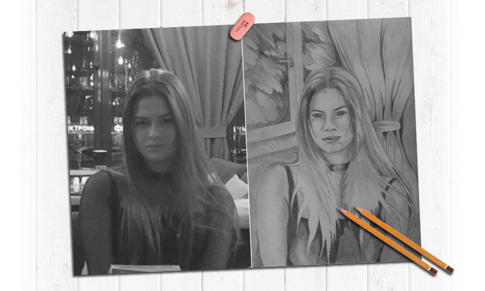 Портрет девушки нарисованный карандашом