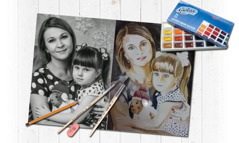 Семейный портрет красками в Воронеже