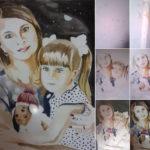 Портрет семейный акварелью