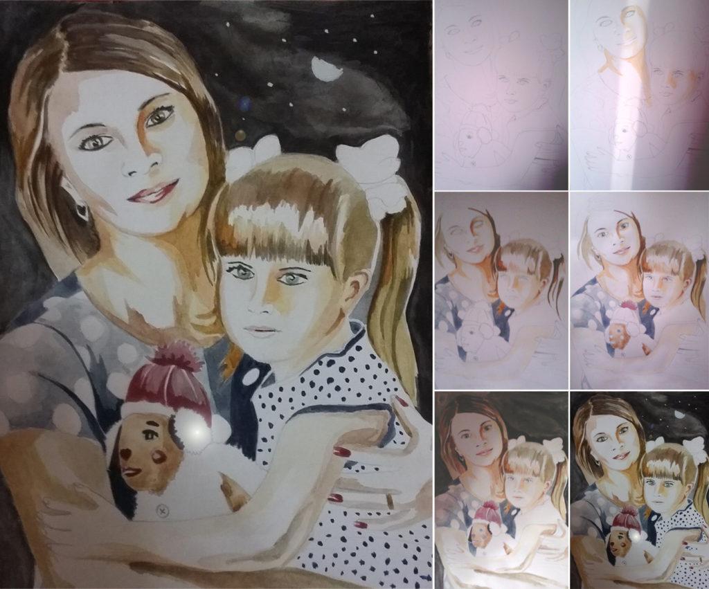 Семейный портрет красками на заказ