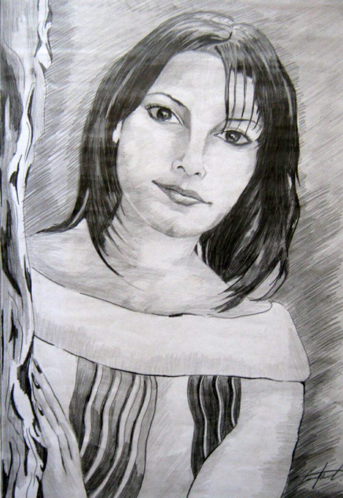 Портрет по фото на заказ, девушка, карандашом, формат А2