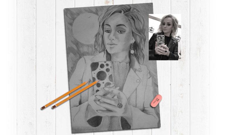 Большой размер портрета карандашом