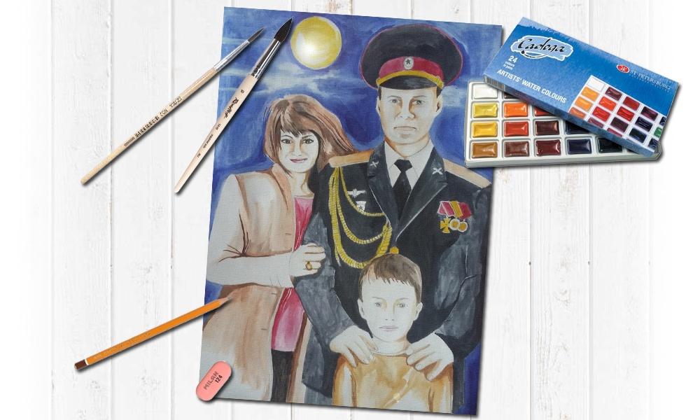 Семейный портрет нарисованный акварелью