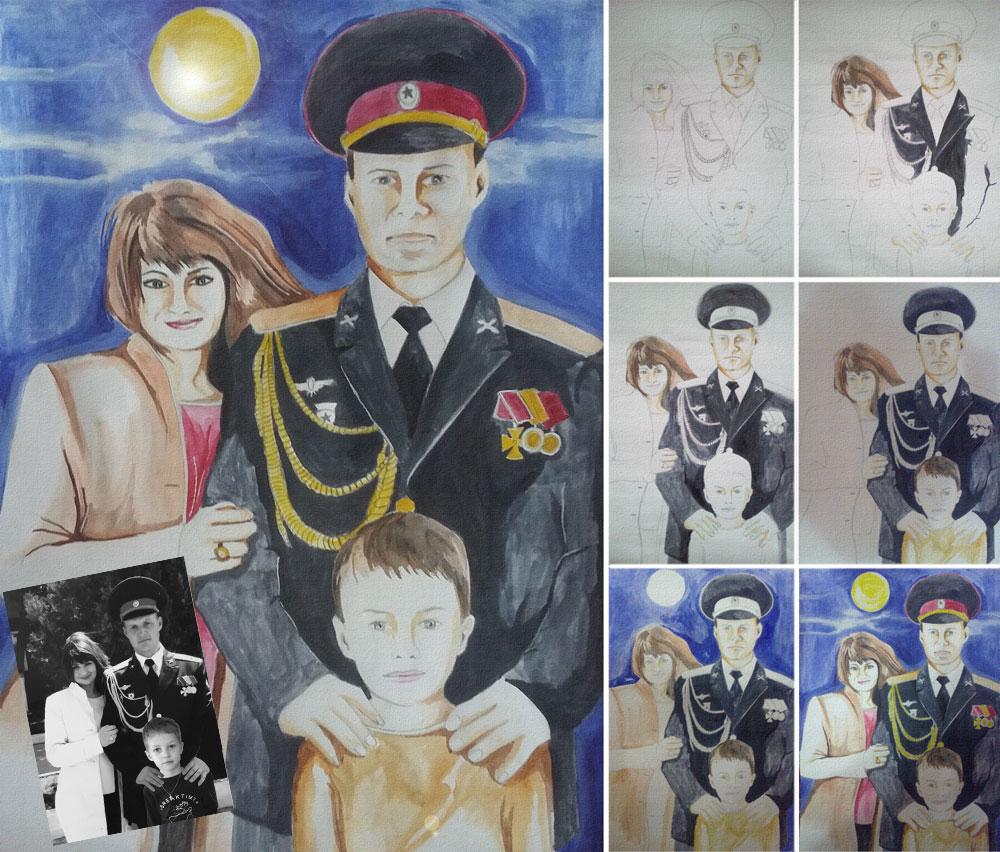 Семейный портрет по фото нарисованный акварельными красками
