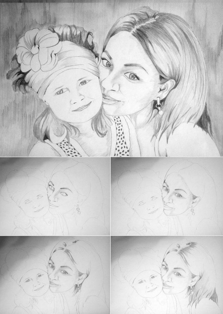 Портрет семьи карандашом в Воронеже