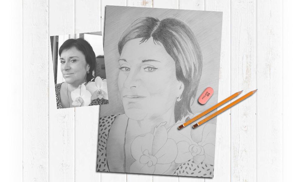 Подарок для красивой женщины, портрет карандашом